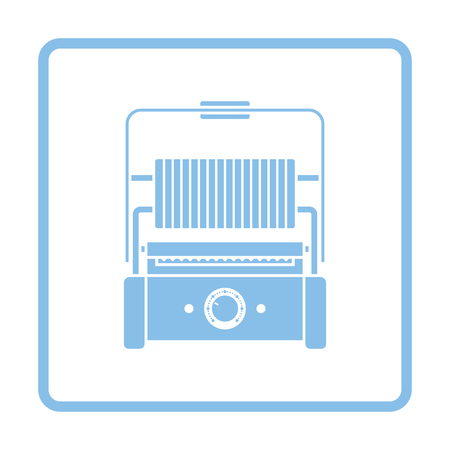 open sandwich: Kitchen electric grill icon. Blue frame design. Vector illustration. Illustration