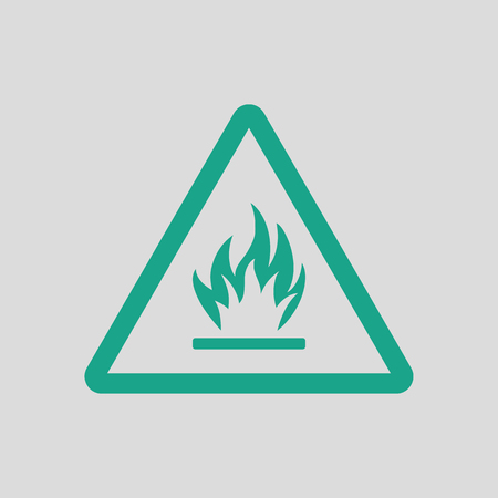 flammable: Flammable icon. Gray background with green. Vector illustration. Illustration