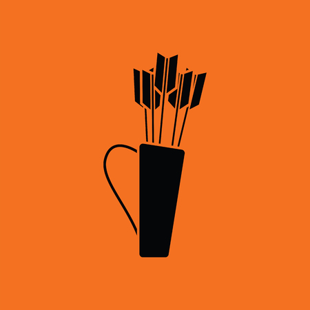 Quiver with arrows icon. Orange background with black. Vector illustration.