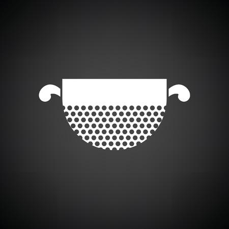 Kitchen colander icon. Black background with white. Vector illustration.