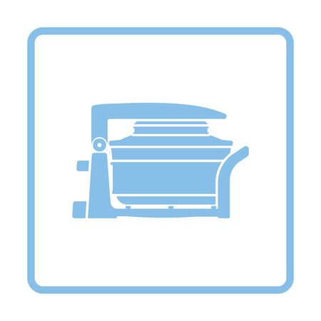 hotter: Electric convection oven icon. Blue frame design. Vector illustration.