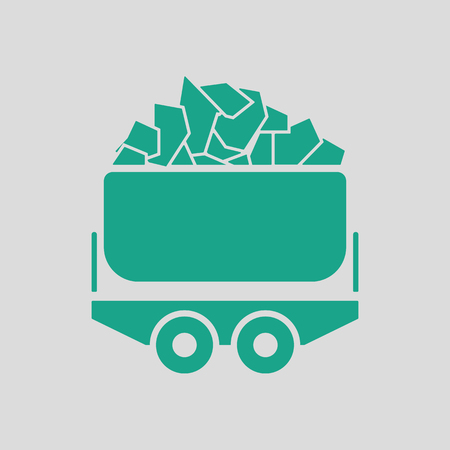 Mine coal trolley icon. Gray background with green. Vector illustration.