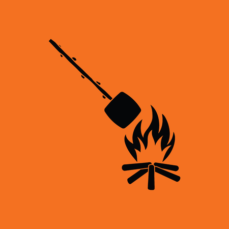 camping: Camping fire with roasting marshmallow icon. Orange background with black. Vector illustration.