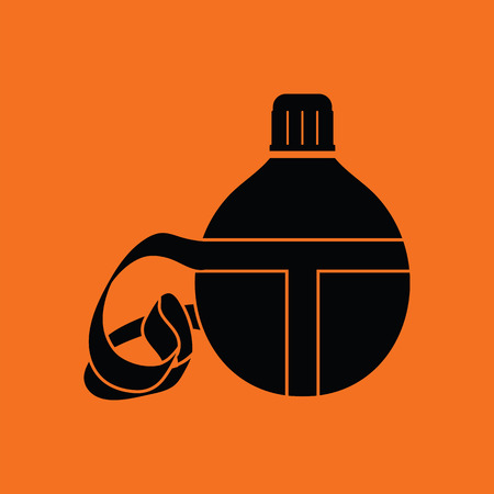 touristic: Touristic flask  icon. Orange background with black. Vector illustration.