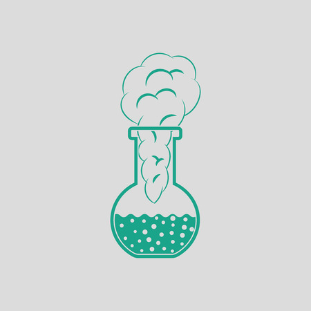transpiration: Icon of chemistry bulb with reaction inside. Gray background with green. Vector illustration.