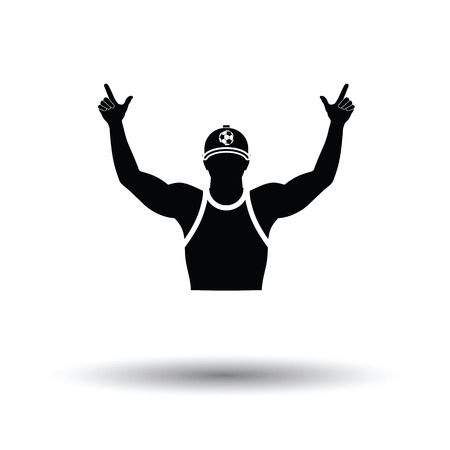 Football fan with hands up icon. White background with shadow design. Vector illustration. Illustration