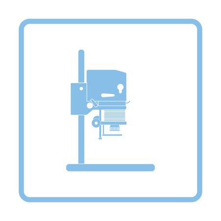 darkroom: Icon of photo enlarger. Blue frame design. Vector illustration.