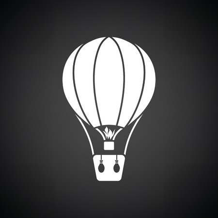 Hot air balloon icon. Black background with white. Vector illustration. Illustration
