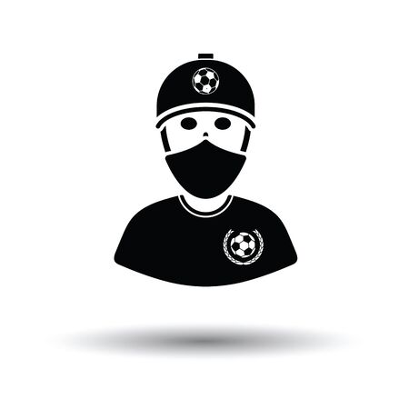 Football fan with covered  face by scarf icon. White background with shadow design. Vector illustration.