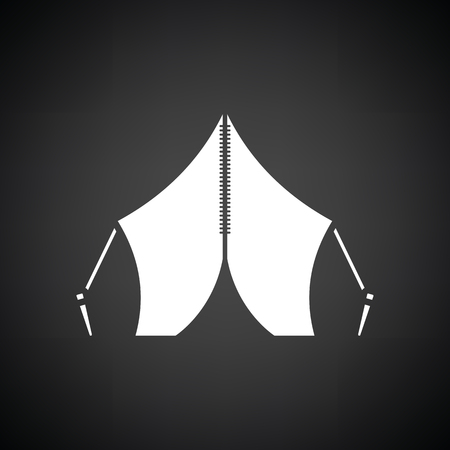 touristic: Touristic tent icon. Black background with white. Vector illustration.