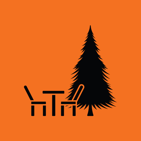 camping: Park seat and pine tree icon. Orange background with black. Vector illustration.