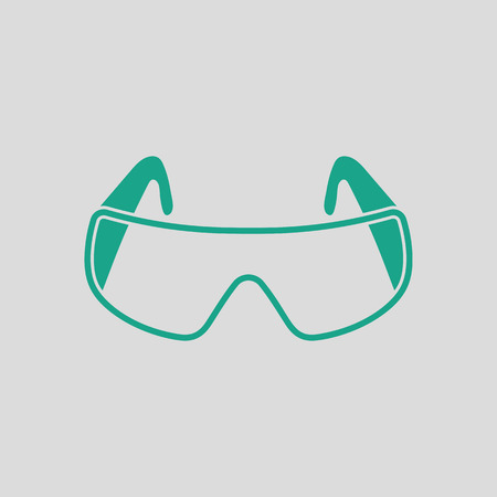 Icon of chemistry protective eyewear. Gray background with green. Vector illustration. Illustration