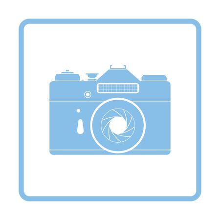 film title: Icon of retro film photo camera. Blue frame design. Vector illustration. Illustration