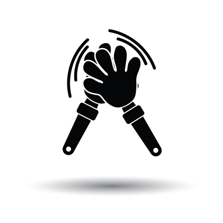 Football fans clap hand toy icon. White background with shadow design. Vector illustration.