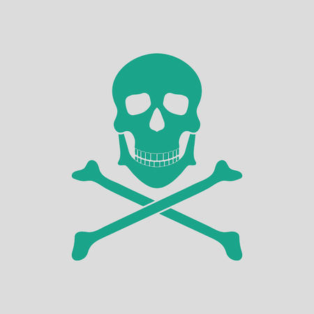 Icon of poison from skill and bones. Gray background with green. Vector illustration.