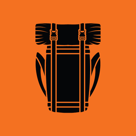 camping: Camping backpack icon. Orange background with black. Vector illustration.