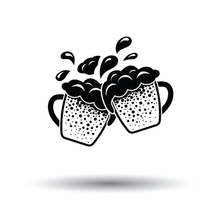Two clinking beer mugs with fly off foam icon. White background with shadow design. Vector illustration.