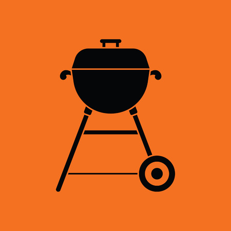 camping: Barbecue  icon. Orange background with black. Vector illustration. Illustration