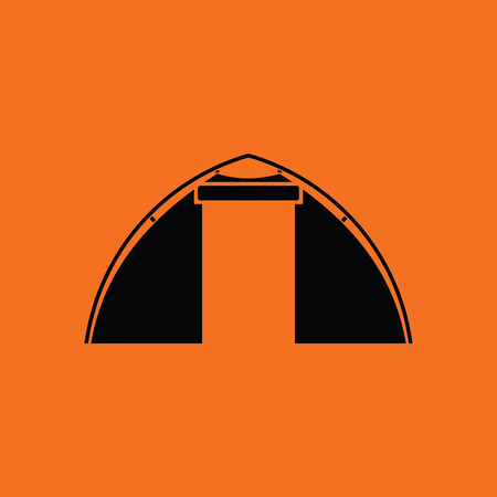 touristic: Touristic tent  icon. Orange background with black. Vector illustration. Illustration