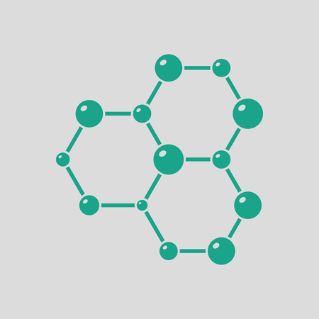 Icon of chemistry hexa connection of atoms. Gray background with green. Vector illustration. Illustration