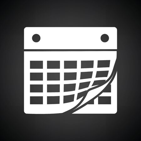 intentions: Calendar icon. Black background with white. Vector illustration.
