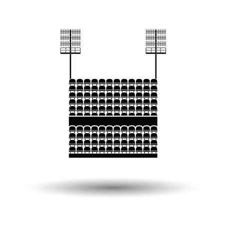 ligh: Stadium tribune with seats and light mast icon. White background with shadow design. Vector illustration.