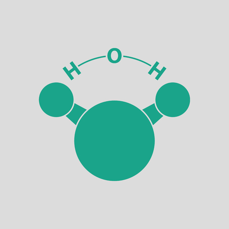 Icon of chemical molecule water. Gray background with green. Vector illustration. Illustration