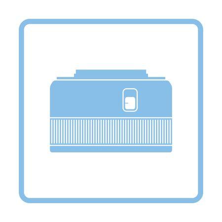 stabilizer: Icon of photo camera 50 mm lens. Blue frame design. Vector illustration.