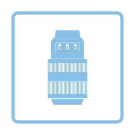 thumbnail: Icon of photo camera zoom lens. Blue frame design. Vector illustration.