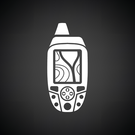 waypoint: Portable GPS device icon. Black background with white. Vector illustration.