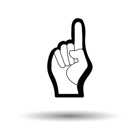 Fan foam hand with number one gesture icon. White background with shadow design. Vector illustration.