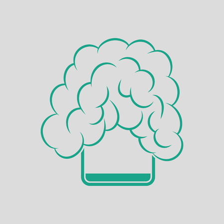 Icon of chemistry reaction in glass. Gray background with green. Vector illustration.