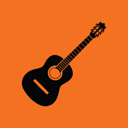 ukulele: Acoustic guitar icon. Orange background with black. Vector illustration.