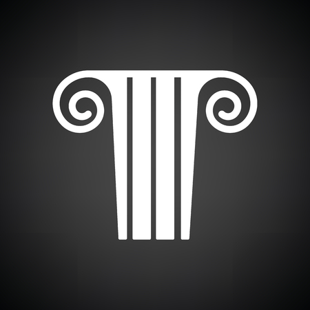 column icon: Antique column  icon. Black background with white. Vector illustration.