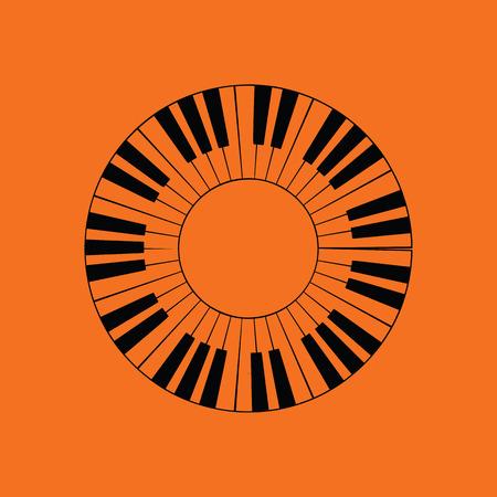 Piano circle keyboard icon. Orange background with black. Vector illustration.