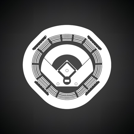 baseball stadium: Baseball stadium icon. Black background with white. Vector illustration.