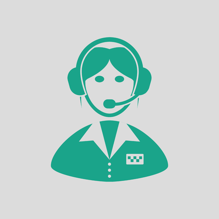 dispatcher: Taxi dispatcher icon. Gray background with green. Vector illustration.