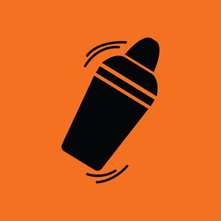 Bar shaker icon. Orange background with black. Vector illustration. Vektoros illusztráció
