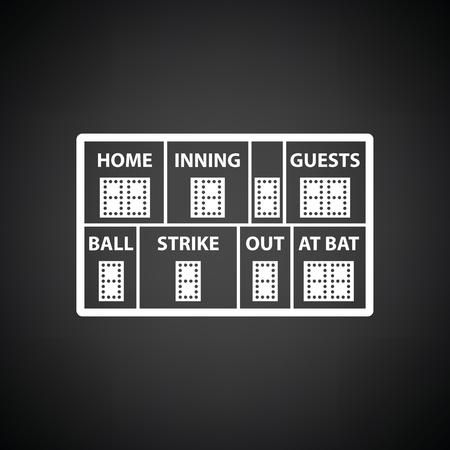 ballpark: Baseball scoreboard icon. Black background with white. Vector illustration. Illustration