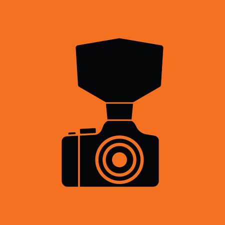 night art: Camera with fashion flash icon. Orange background with black. Vector illustration.