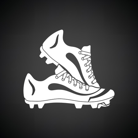 spiked: Baseball boot icon. Black background with white. Vector illustration.