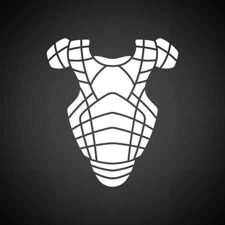 little league: Baseball chest protector icon. Black background with white. Vector illustration.