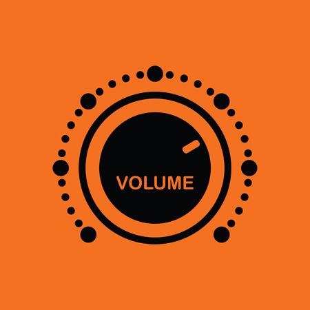 volume control: Volume control icon. Orange background with black. Vector illustration. Illustration