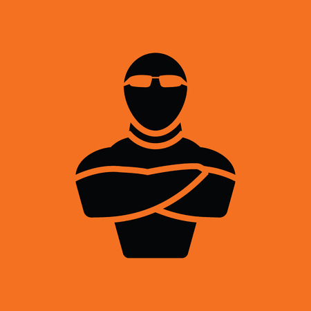 serious business: Night club security icon. Orange background with black. Vector illustration.