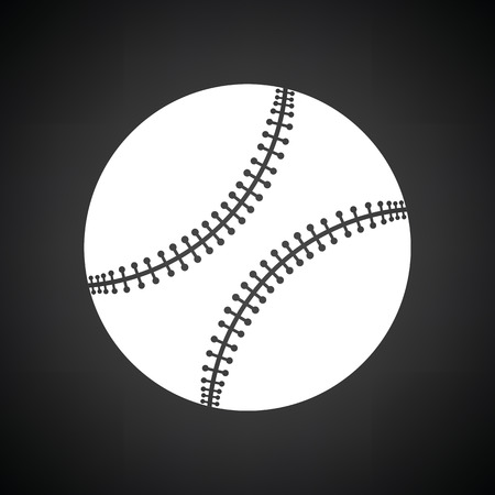 major league: Baseball ball icon. Black background with white. Vector illustration. Illustration
