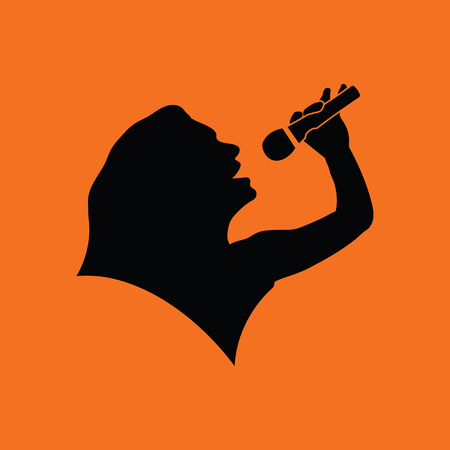 Karaoke womans silhouette icon. Orange background with black. Vector illustration.
