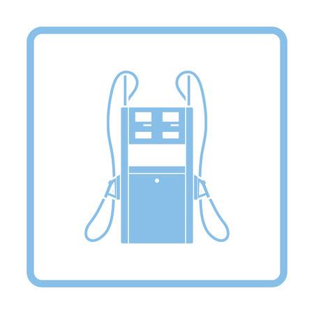 refuel: Fuel station icon. Blue frame design. Vector illustration.