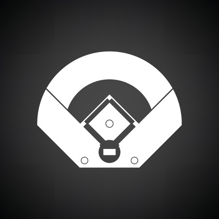Baseball field aerial view icon. Black background with white. Vector illustration.