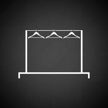 clothes rail: Clothing rail with hangers icon. Black background with white. Vector illustration.