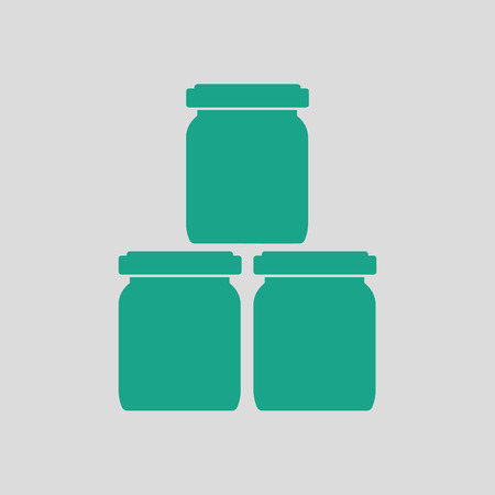 puree: Baby glass jars icon. Gray background with green. Vector illustration.